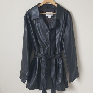 Belted Faux Leather Coat